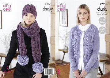 King Cole Ladies Chunky Cardigan , Hat  and Scarf Knitting Pattern , 5497